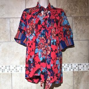 Anthro Tracy Reese Floral Bow Blouse M